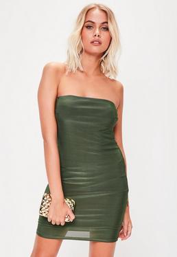 Khaki Double Layer Slinky Bandeau Mini Dress