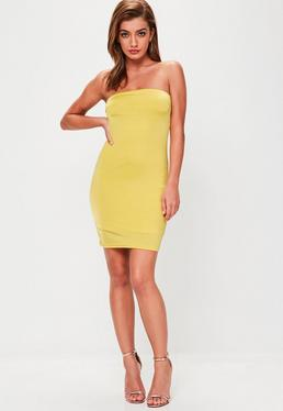 Yellow Double Layer Slinky Bandeau Mini Dress