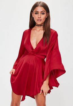 Red Plunge Flared Sleeve Skater Dress