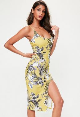 Yellow Printed Scoop Neck Strappy Midi Dress