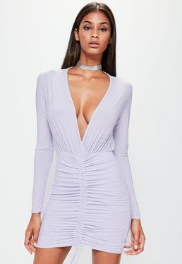 Lilac Slinky Channel Ruched Front Plunge Dress
