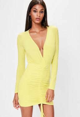 Yellow Slinky Channel Ruched Front Plunge Dress