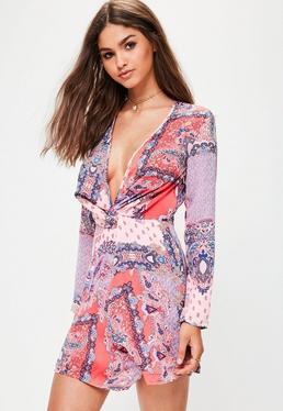 Pink Paisley Print Silky Wrap Dress