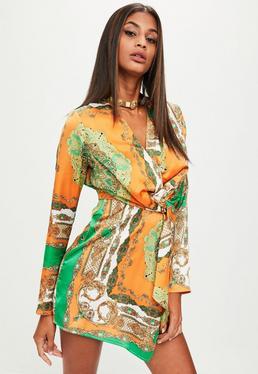 Orange Silky Print Wrap Dress