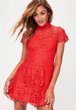 Red short sleeve double layer skater dress