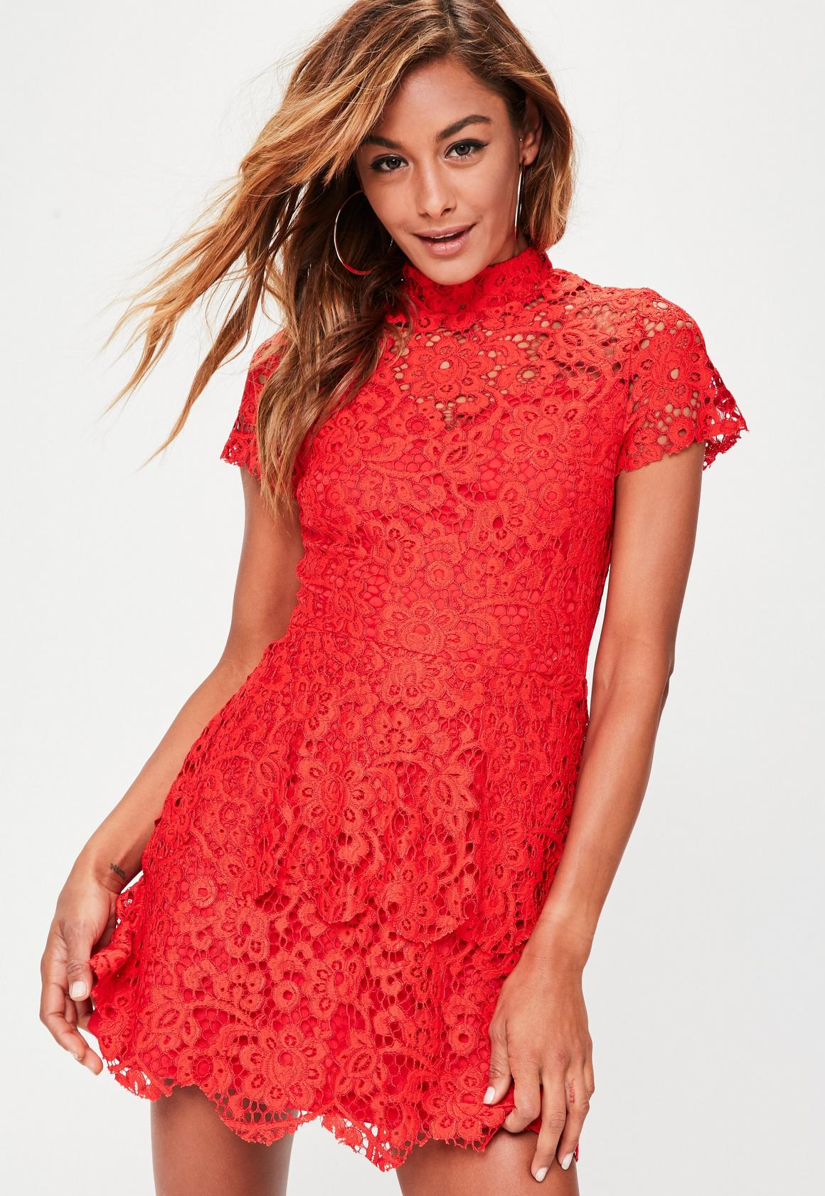 Red Short Sleeve Lace Double Layer Dress | Missguided