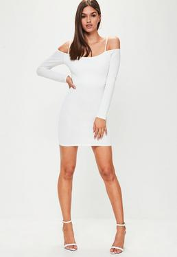 White Crepe Long Sleeve Strappy Bardot Mini Dress