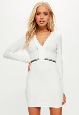 White Stretch Crepe Plunge Beaded Trim Bodycon Dress