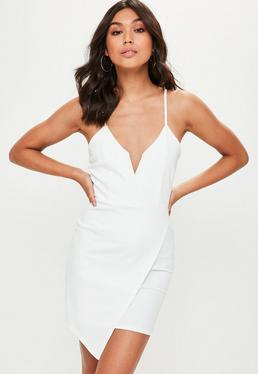 White V Bar Strappy Wrap Over Bodycon Dress