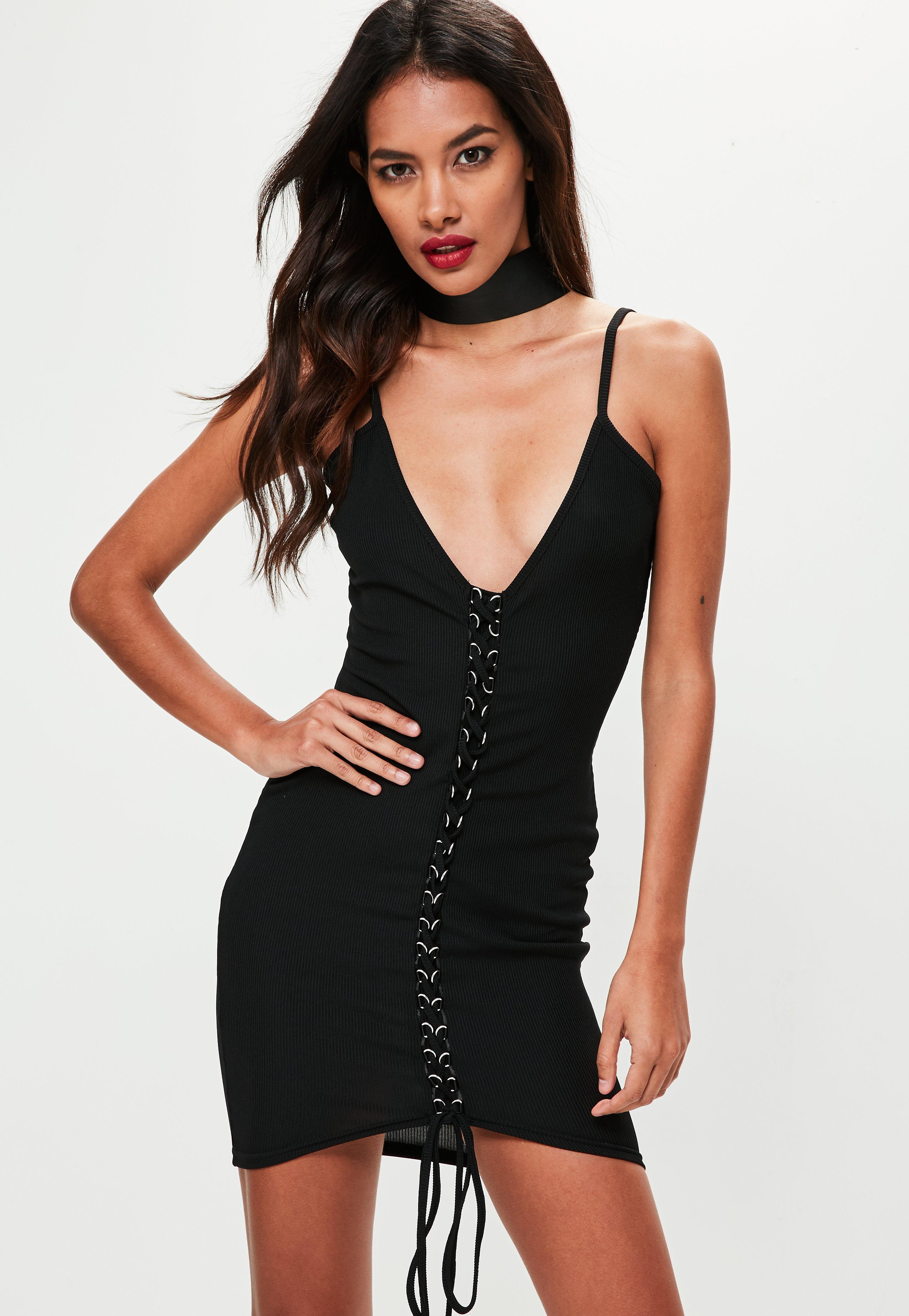 79f298647b1f Black Ribbed Strappy Lace Up Bodycon Dress