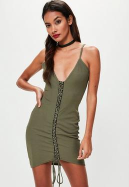 Khaki Ribbed Strappy Lace Up Bodycon Dress