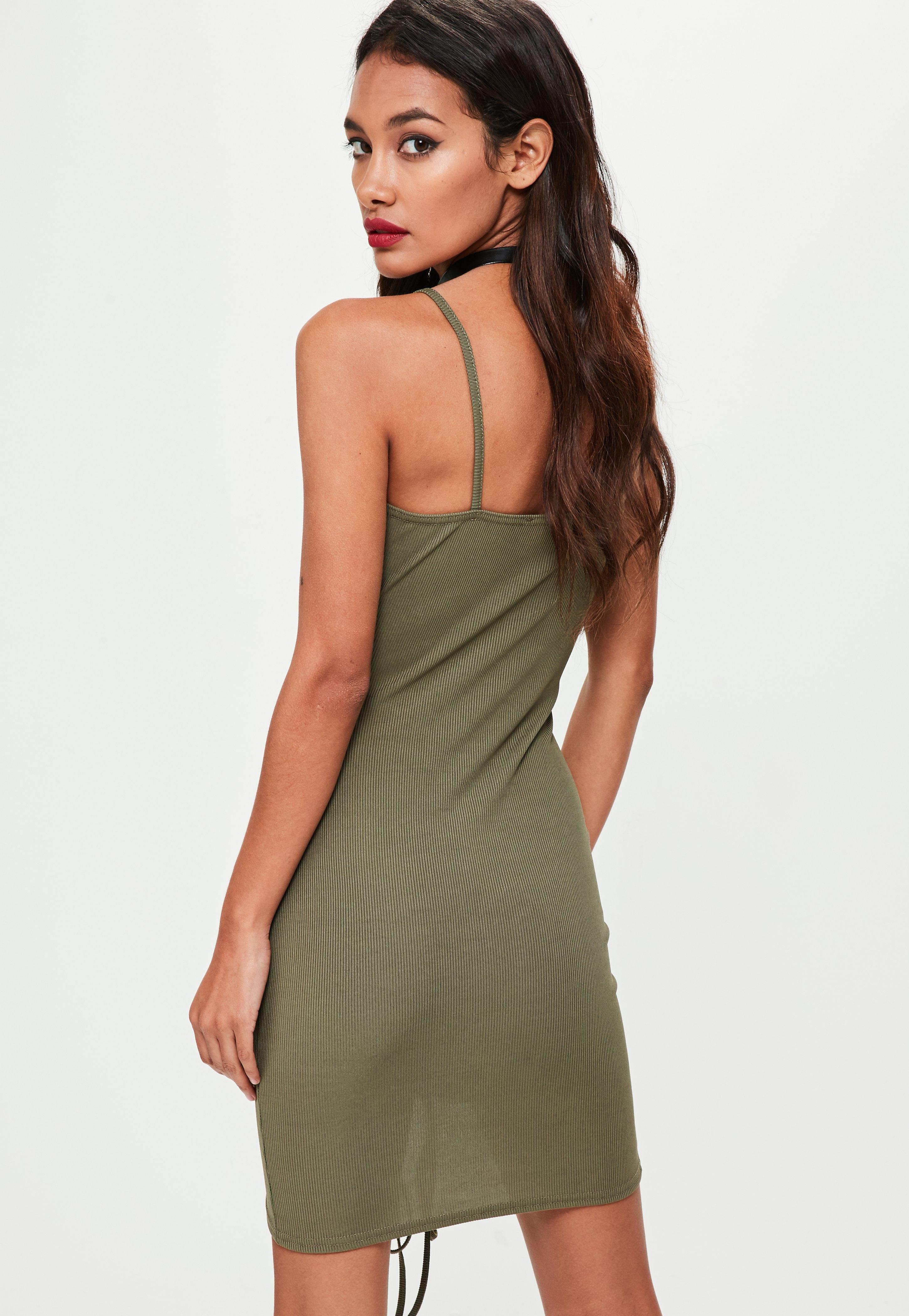 Missguided Khaki Ribbed Strappy Lace Up Bodycon Dress Largest Supplier Sale Online L2pczCjAl
