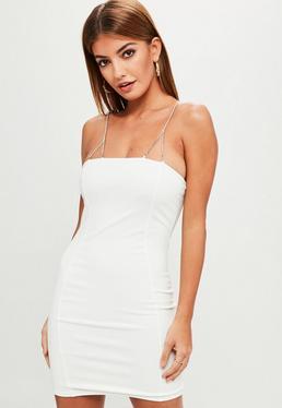 White Diamante Strap Bodycon Dress