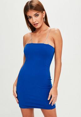 Blue Diamante Strap Bodycon Dress