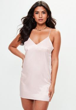 Pink Hammered Satin Cami Dress
