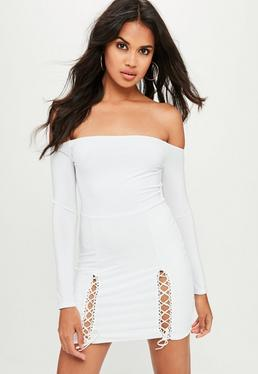 White Slinky Bardot Mini Dress