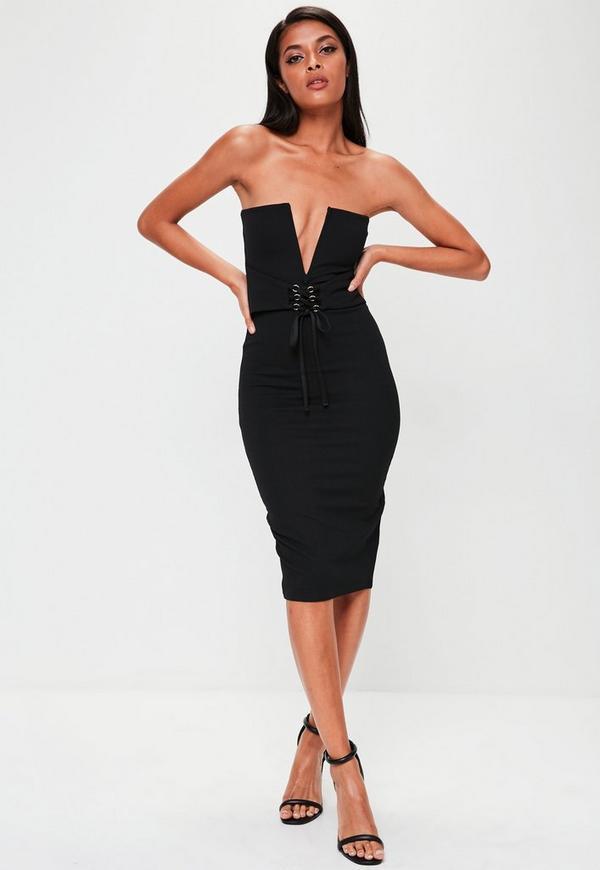 Black Bandeau Corset Belt Dress Missguided