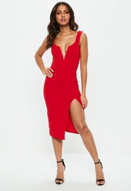 Party dresses going out dresses missguided red v bar midi dress solutioingenieria Images