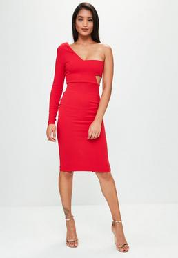 Red One Shoulder Bandeau Midi Dress
