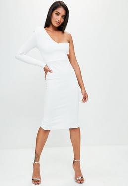 White One Shoulder Bandeau Midi Dress