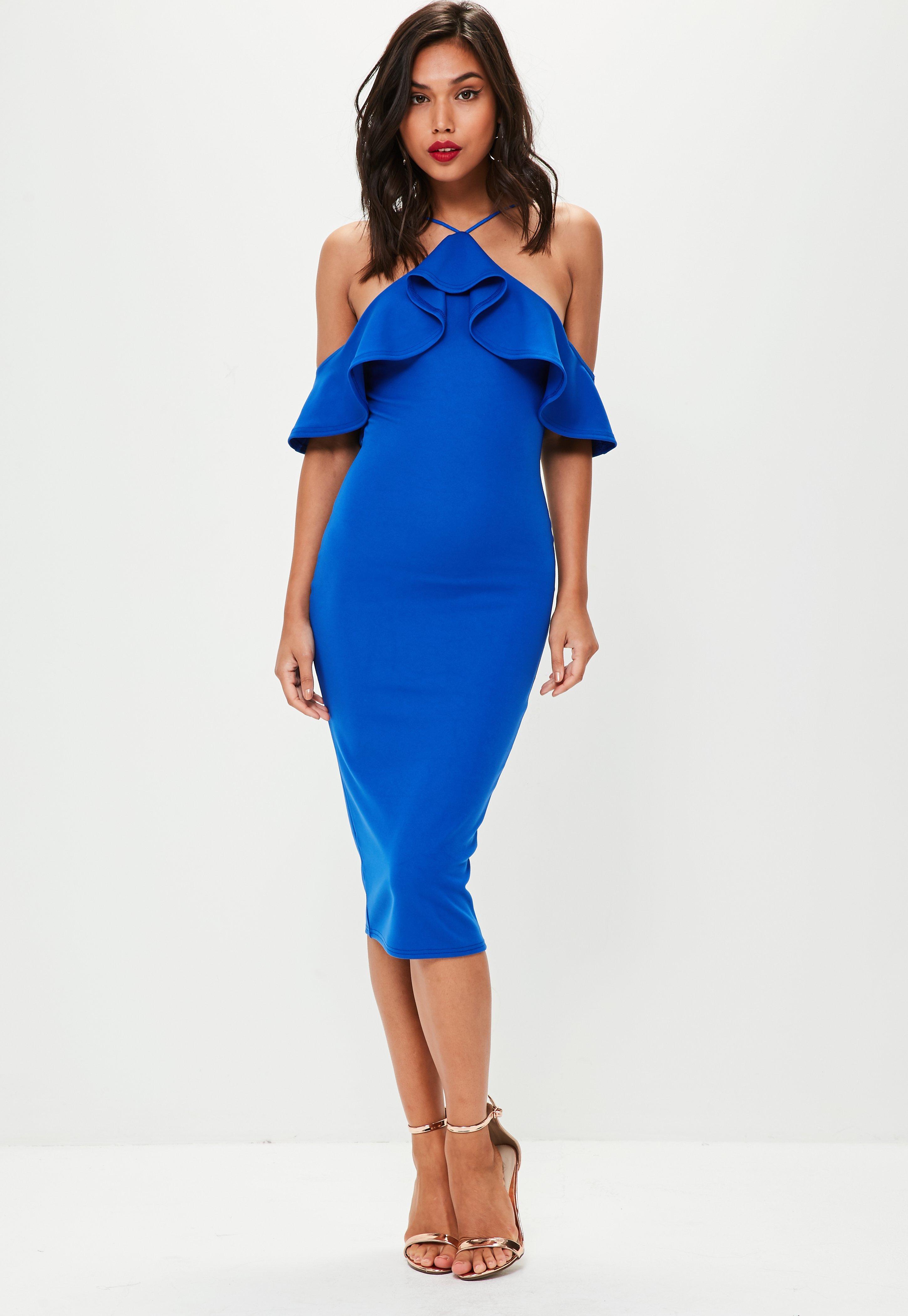 Blaues High-Neck Volant-Kleid | Missguided