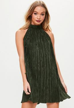 Khaki Pleated High Neck Swing Dress