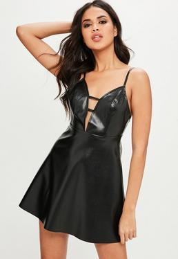 Black Faux Letaher Skater Dress