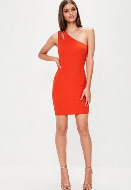 Red Crepe One Shoulder Bar Detail Bodycon