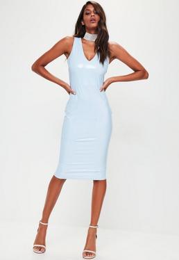 Blue Vinyl Plunge Sleeveless Midi Dress