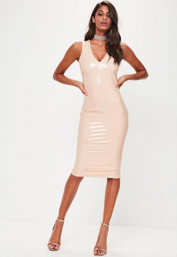 Pink Vinly Plunge Sleeveless Midi Dress