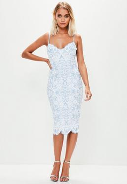 Blue Puff Print Scallop Neck Plunge Midi Dress