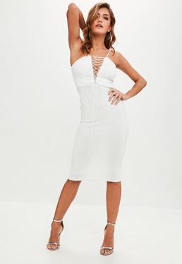 Biała sukienka midi z wiązaniem