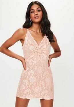 Pink Strappy Lace Knot Front Bodycon Dress
