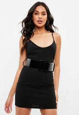 Black Crepe Belted Mini Dress