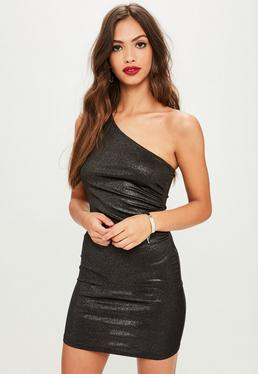 Black Metallic Foil One Shoulder Bodycon Dress