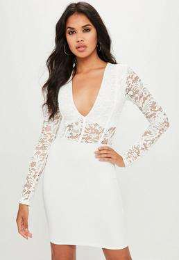 White Long Sleeve Binding Bodycon Dress