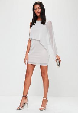 Silver Metallic Cape One Sleeve Mini Dress