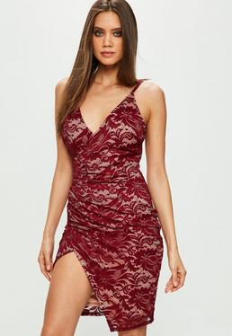 Burgundy Strappy Lace Dress