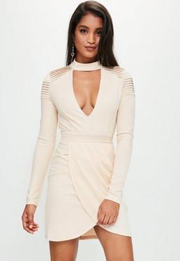 Cream Choker Neck Pleated Details Dress
