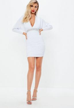 White Slinky Diamante Batwing Dress