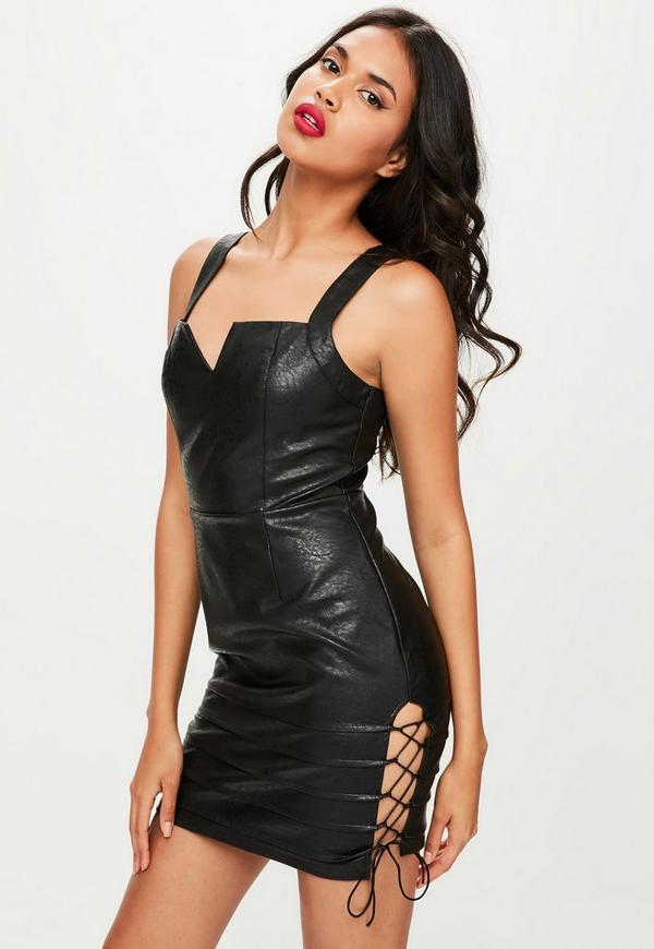 Black Faux Leather Plunge Side Bodycon Dress Missguided