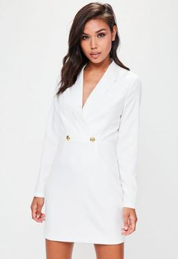 White Button Detail Plunge Blazer Dress