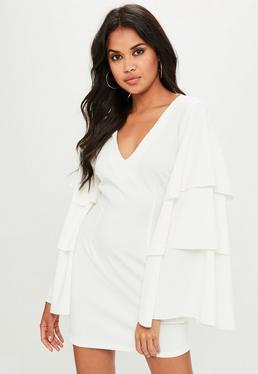 White Plunge Tiered Sleeve Dress