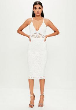 Biała koronkowa sukienka midi na ramiączkach