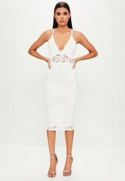 White Lace Strappy Midi Dress