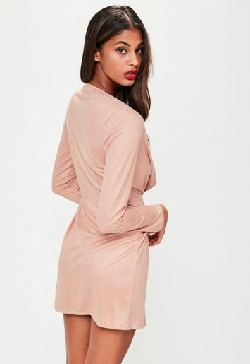 Pink Faux Suede Twist Front Dress Missguided