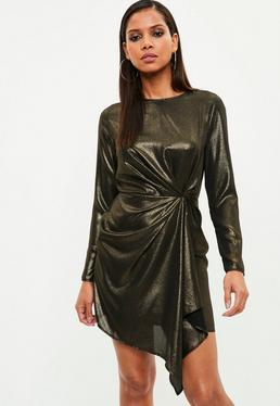 Gold Metallic Plunge Twist Front Mini Dress