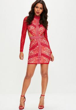 Red High Neck Backless Lace Dress