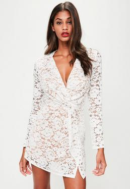 White Plunge Lace Twist Front Dress