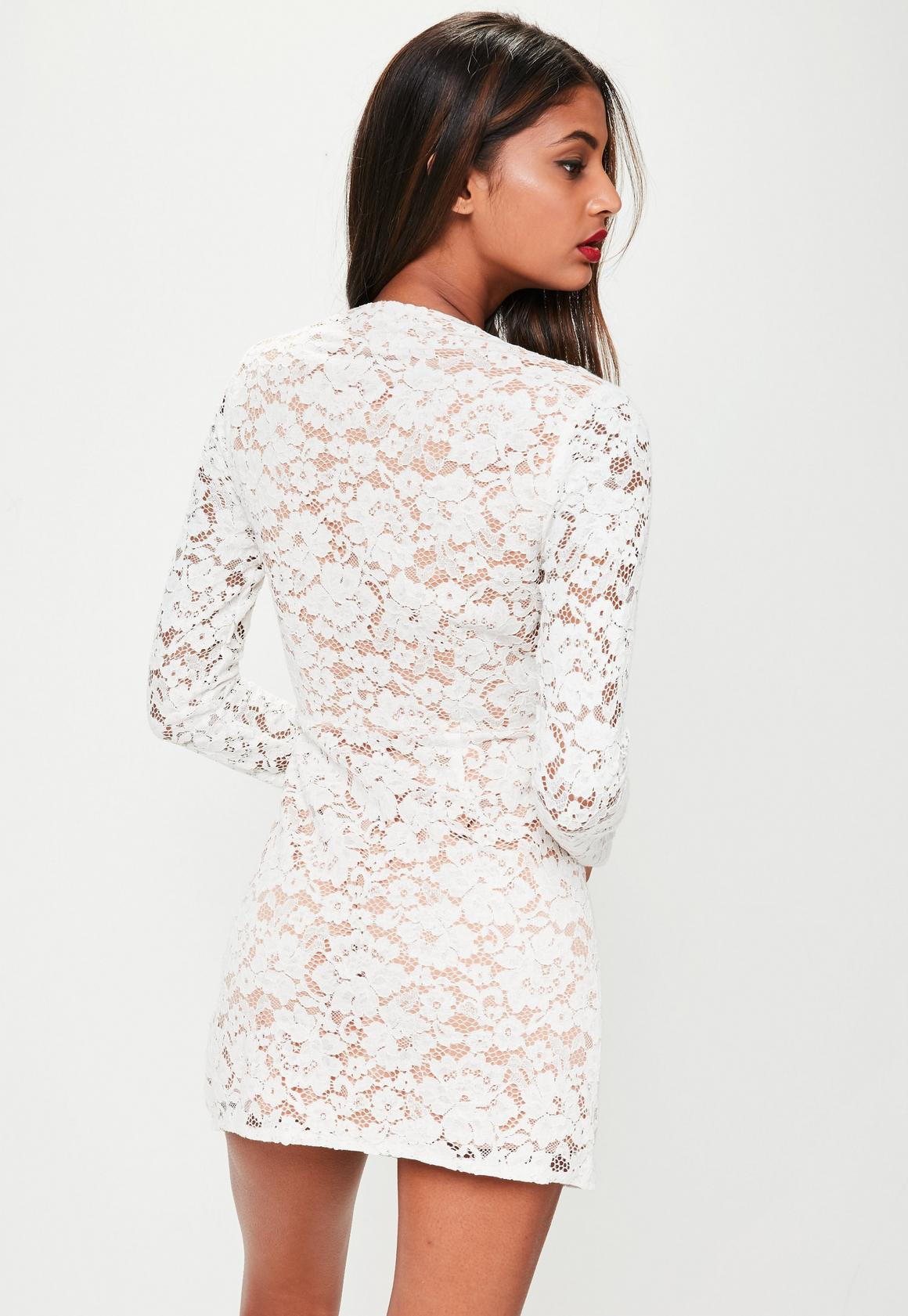 3342f59a17ea Missguided - White Lace Silky Plunge Wrap Shift Dress